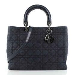 Vintage Lady Dior Bag Cannage Quilt Denim Large