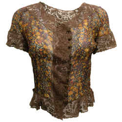Valentino Navy Blue & Brown Floral Printed Short Sleeved Silk Blouse