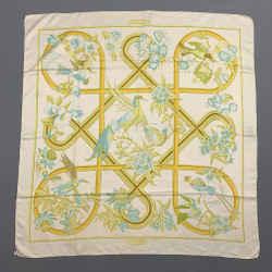 Vintage Caraibes HERMES Yellow & White Bird Print Silk Scarf