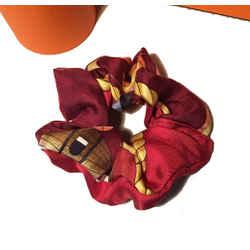 Vintage Hermes Handmade Les Folies du Ciel Silk Scarf Scrunchie in Dark Red