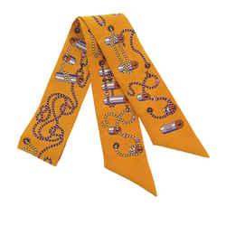 Orange Hermes Cordages Twilly Silk Scarf