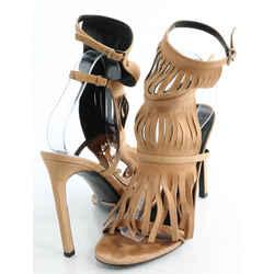 Gucci Suede Fringe Trim Accent Gladiator Sandals