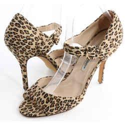 Manolo Blahnik Suede Leopard Sandals