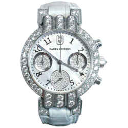 HARRY WINSTON 18 Karat White Gold and Diamond Watch with Exotic Strap