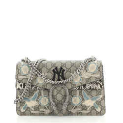 MLB Dionysus Bag Embroidered GG Coated Canvas with Python Small