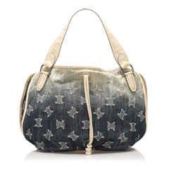 Vintage Authentic Celine Blue Macadam Bittersweet Denim Handbag France