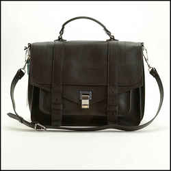 Rdc11723 Authentic Proenza Schouler Dark Brown Lux Leather Large Ps1 Bag
