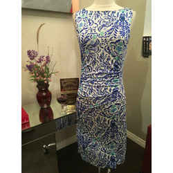 Tory Burch Size S Blue White Floral Silk Jersey Sheath Dress - 819-15-71019