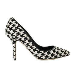 Dolce & Gabbana White Black Hair Leather Women's Pumps