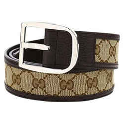 New Gucci Beige Ebony Gg Guccissima Canvas Leather Belt Size 105