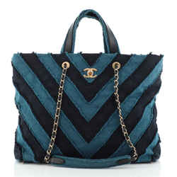 Shopping Tote Chevron Canvas Patchwork Large