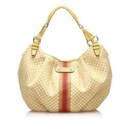 Vintage Authentic Celine Brown Beige Canvas Fabric Macadam Hobo Bag Spain