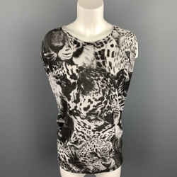 STELLA McCARTNEY Size S Black & White Leopard Print Sleeveless Casual Top