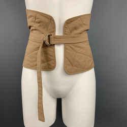 Jil Sander Size 6 Tan Quilted Cotton D Loop Belt