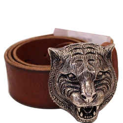 Gucci Feline Buckle Calfskin Leather Belt Brown Size 75.30