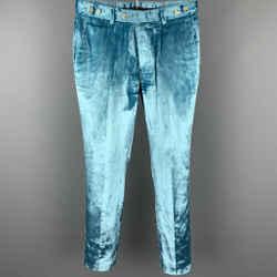 GUCCI Size 32 Light Blue Velvet Button Fly Dress Pants