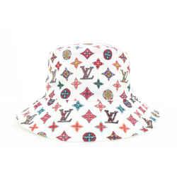 Louis Vuitton Ultra Rare Multicolor White Bob Hat Bucket Fisherman Cap 5lvs18
