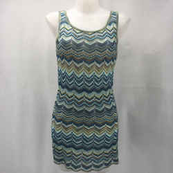 St John Blue Chevron Knit Dress Size Small