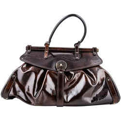 Fendi Handbag Patent Leather Brown One Size Authenticity Guaranteed
