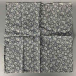 BRUNELLO CUCINELLI Indigo & White Floral Linen / Cotton Pocket Square