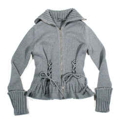 Alexander Mcqueen - Corset Sweater Jacket - Grey Flare Zip Wool Knit Us Small S