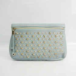 Jimmy Choo ZENA Women's Leather Clutch Bag Light Blue FVEL000065
