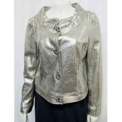 St John Couture 4 Small Snake Embossed Lamb Leather Metallic Silver Embellished
