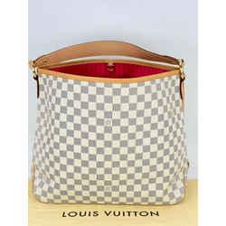 LOUIS VUITTON Delightful MM Damier Azur White Blue Canvas Shoulder Bag A662 AUTH