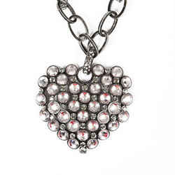 Lanvin Pewter Chain Glass Crystal Heart Pendant Necklace