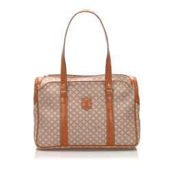 Vintage Authentic Celine Brown Light Brown PVC Plastic Macadam Handbag Italy