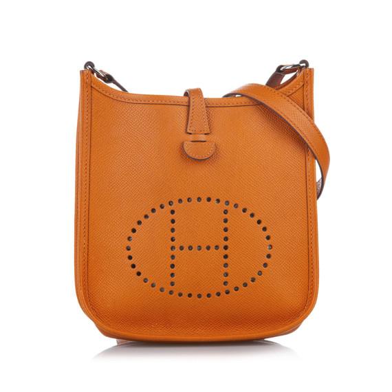 Vintage Authentic Hermes Orange Calf Leather Clemence Evelyne I TPM FRANCE
