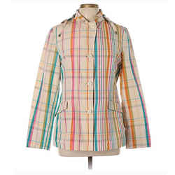 $1795 Nwt Loro Piana Madras Clipper Multicolor Plaid Hooded Jacket Sz M / 44