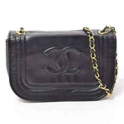 Auth Chanel Lamb Coco Chain Shoulder Bag Gold Hardware Black Leather