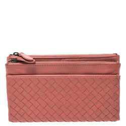 Bottega Veneta Salmon Pink Intrecciato Leather Double Zip Wallet