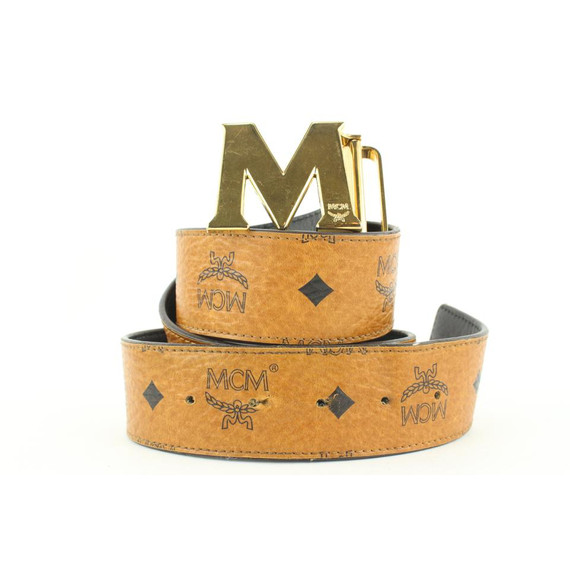 MCM Cognac Monogram Visetos Logo Belt 680mcm318
