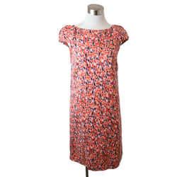 Carolina Herrera Red Multi Floral Print Dress with Cap Sleeves size 6