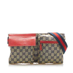 Vintage Authentic Gucci Brown Beige with Red Canvas Fabric GG Belt Bag Italy