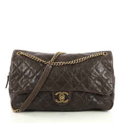 Shiva Maxi Flap Quilted Caviar Leather Bag
