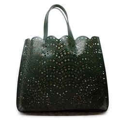 AlaIa Laser Cut Dark Green Leather Tote
