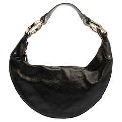 Gucci Black Guccissima Leather Bamboo Ring Hobo