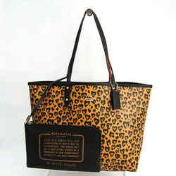 Coach Wild Heart Reversible F24209 Women's Leather,PVC Tote Bag Black,B BF520599