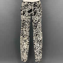 PROENZA SCHOULER for J BRAND Size 28 Black & White Painted Cotton Blend Jeans