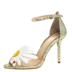Charlotte Olympia Gold/White Glitter and Leather Margherita Ankle Strap Sanda...