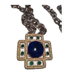 Vintage YSL Yves St Laurent Chunky Gold Long Medallion Necklace or Belt