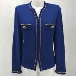 St John Blue Knit Blazer 8