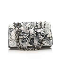 Vintage Authentic Chanel Black Cotton Fabric Camellia Shoulder Bag France