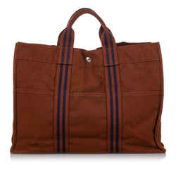 Vintage Authentic Hermes Brown  with Blue Canvas Fabric Fourre Tout MM FRANCE