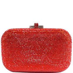 Slide Lock Crystal Chain Clutch Bag Red