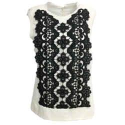 Helmut Lang Ivory & Black Lace Sleeveless Blouse