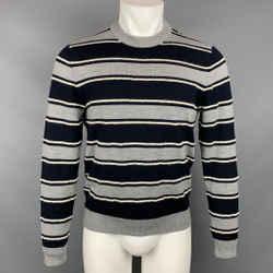 SALVATORE FERRAGAMO Size M Grey & Navy Stripe Wool / Mohair Crew-Neck Pullover